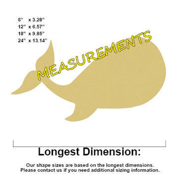 Whale Unfinished Cutout Paintable Wooden MDF MEASUREMENTS