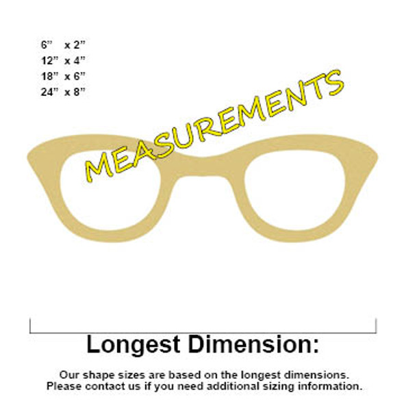 Women's GLasses Unfinished Cutout, Wooden Shape, Paintable Wooden MDF