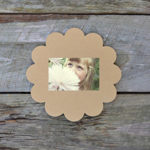 Unfinished Whimsical Picture Frame Wooden Craft Paintable Wood Scalloped