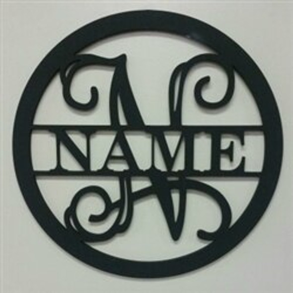 Circle Frame Family Name Unfinished Framed Monogram