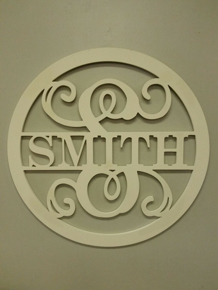 Circle Frame Family Name Unfinished Framed Monogram-SMITH