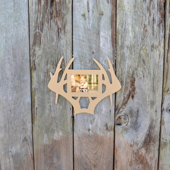 Unfinished Deer Antler Droptime Picture Frame Landscape Photo