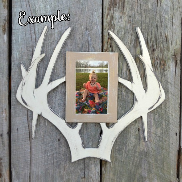 Unfinished Deer Antler Droptine Picture Frame Portrait Photo