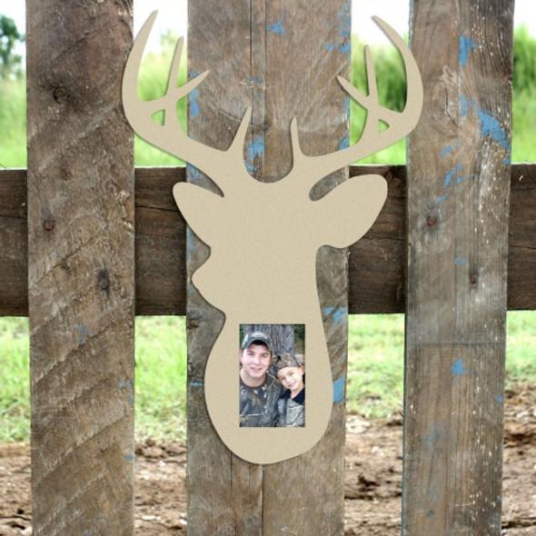 Unfinished Deer Head Picture Frame 4 x 6, Wooden Frame