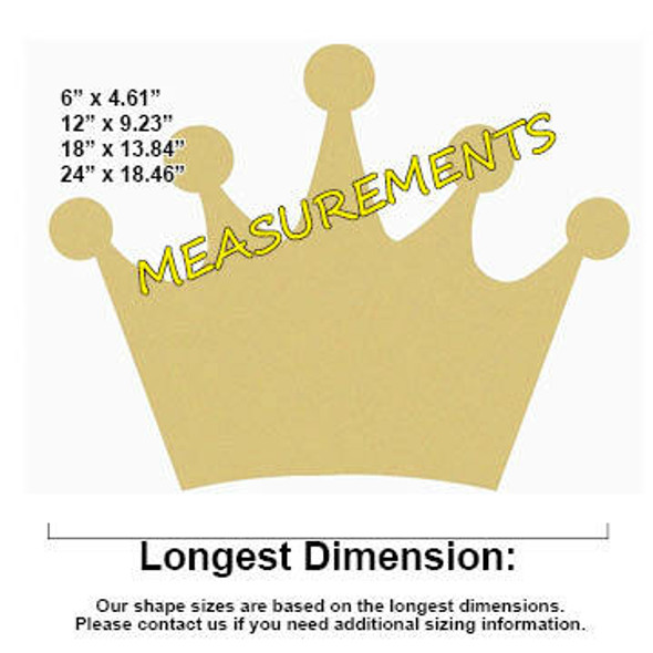 Crown Unfinished Craft Wood Cutout DIY Shape MDF measurements