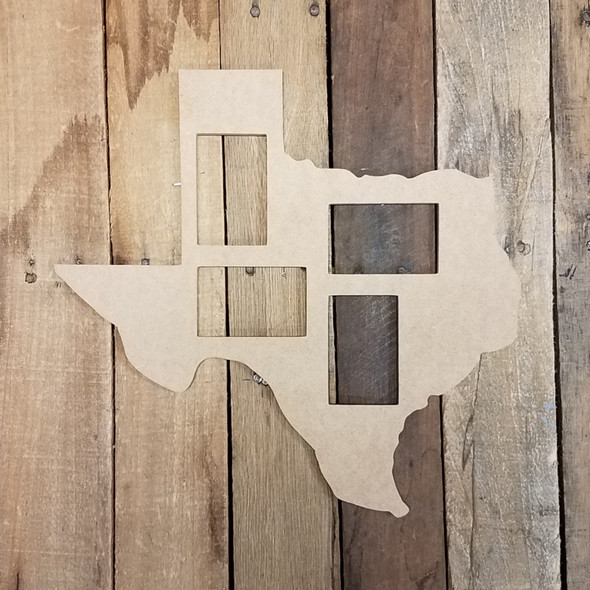 Texas Collage Picture Frame, Wood Art, Unfinished Wood Frame, Wall Decor