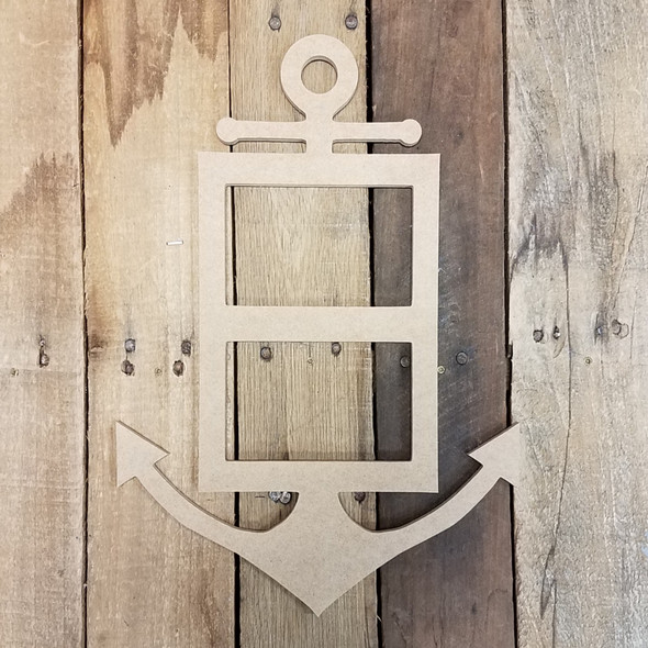 Skinny Anchor Double Frame, Wood Art, Unfinished Wood Frame, Wall Decor