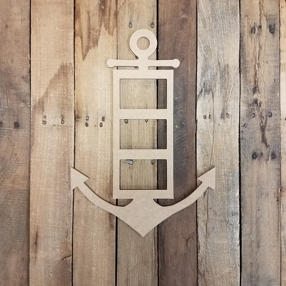 Skinny Anchor Triple Picture Frame, Wood Art, Unfinished Wood Frame