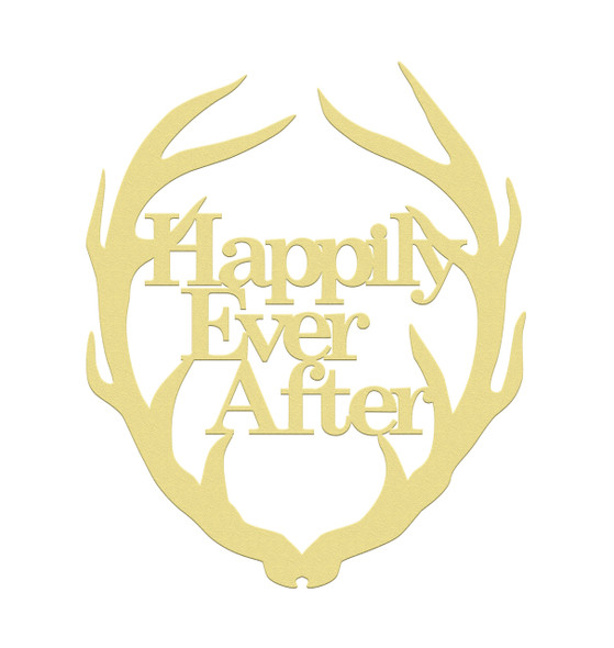 Antler Happily Ever After, Unfinished Cutout, Wooden Shape, MDF DIY