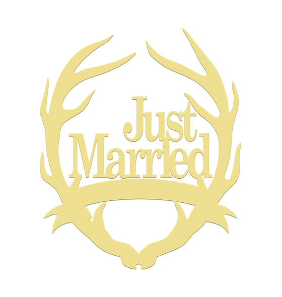 Antler Just Married Unfinished Cutout, Wooden Shape, MDF DIY Craft