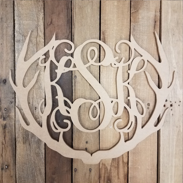Unfinished Wood 3 Alphabet Letter Antler Monogram Wall Decor