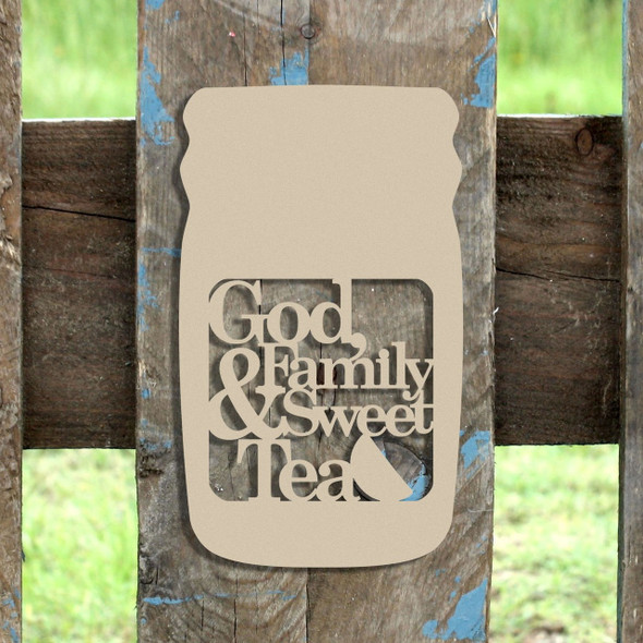 Mason Jar Frame God Family Sweet Tea, Letter Frame Wooden Unfinished