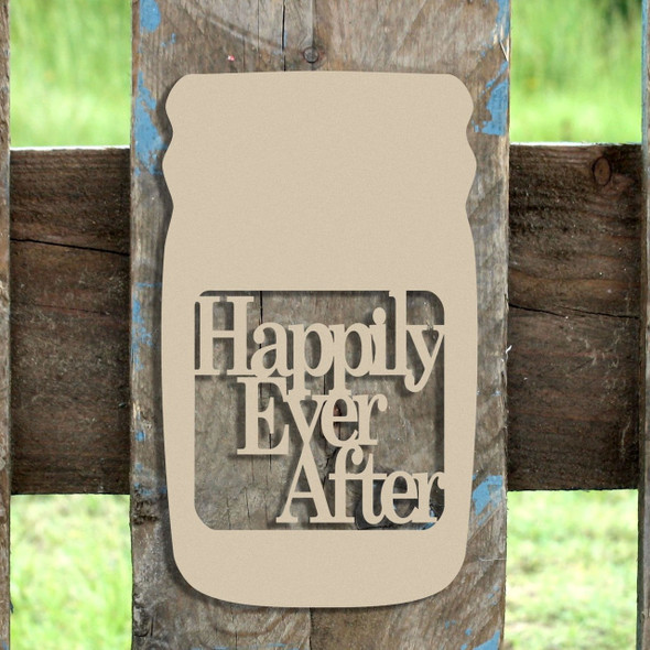 Mason Jar Frame Happily Ever After, Letter Frame Wooden Unfinished