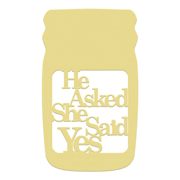 Mason Jar Frame He Asked She Said Yes, Letter Frame Wooden