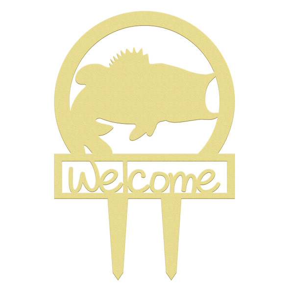 Unfinished outdoor welcome DIY wooden yard art pattern bass sportsman sign