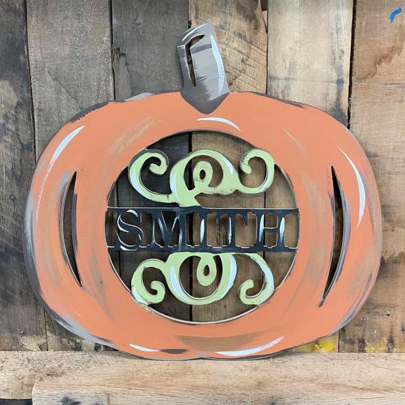 Pumpkin Frame Family Name, Unfinished Framed Monogram