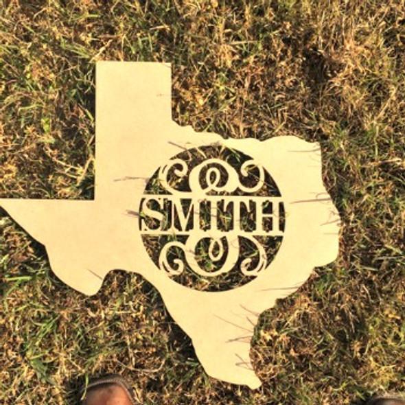 Texas Frame Family Name, Unfinished Framed Monogram