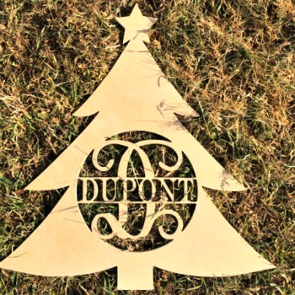 Wooden Christmas Tree Family Name, Wood Unfinished Monogram