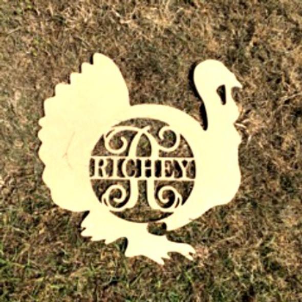 Turkey Frame Family Name, Unfinished Framed Monogram
