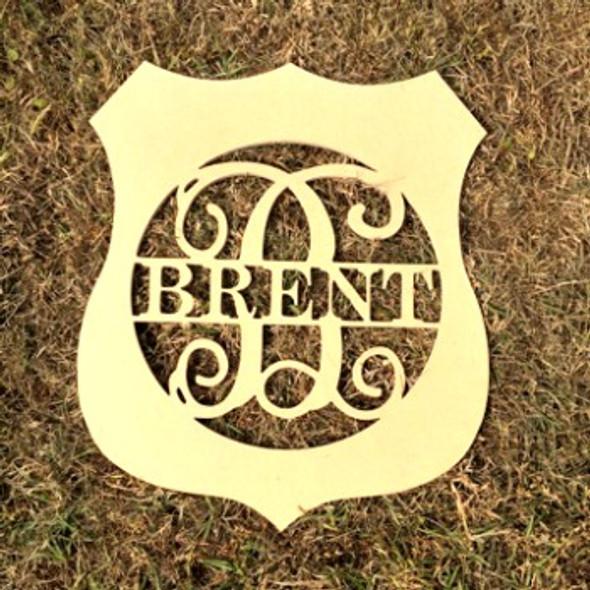 Police Badge Frame Family Name, Unfinished Framed Monogram
