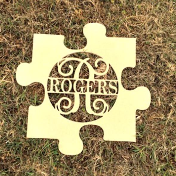 Puzzle Piece Frame Family Name, Unfinished Framed Monogram