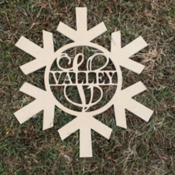 Snowflake Frame Family Name, Unfinished Framed Monogram