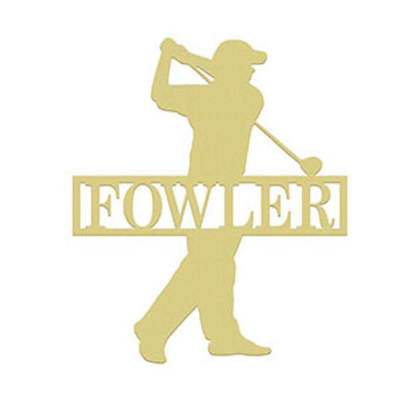 Golfer Man Frame Family Name, Unfinished Framed Monogram