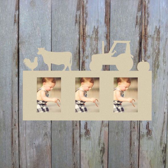 Farm Photo Picture Frame Unfinished, DIY Paintable Photo Frame