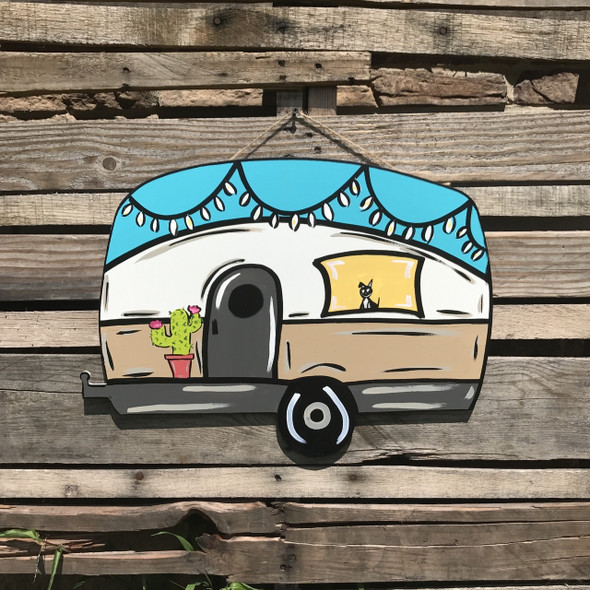 Retro Camper Unfinished Cutout, Wooden Shape,  Paintable MDF DIY Craft