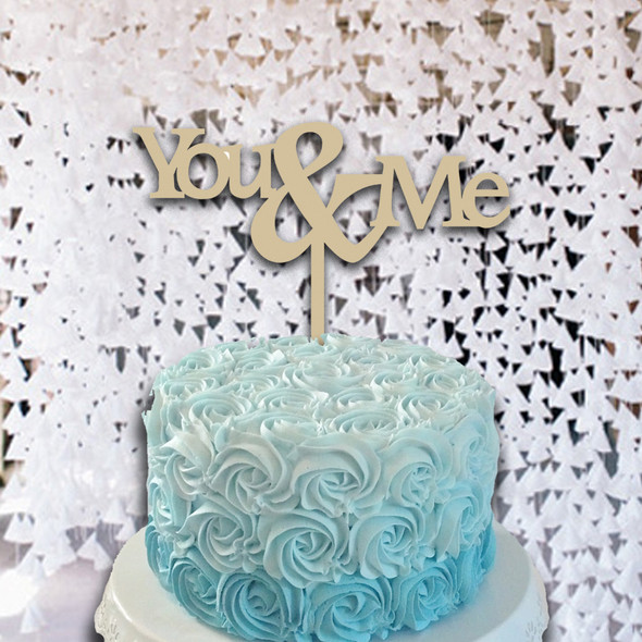 Cake Topper You & Me Monogram Wooden Unfinished Uppercase Alphabet