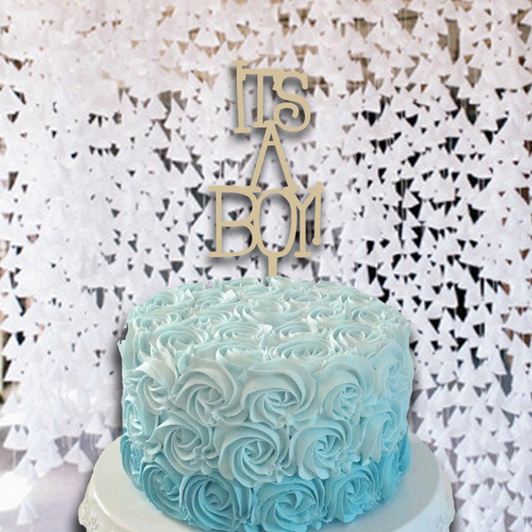 Cake Topper It's A Boy  Wooden Unfinished Uppercase Alphabet Letter