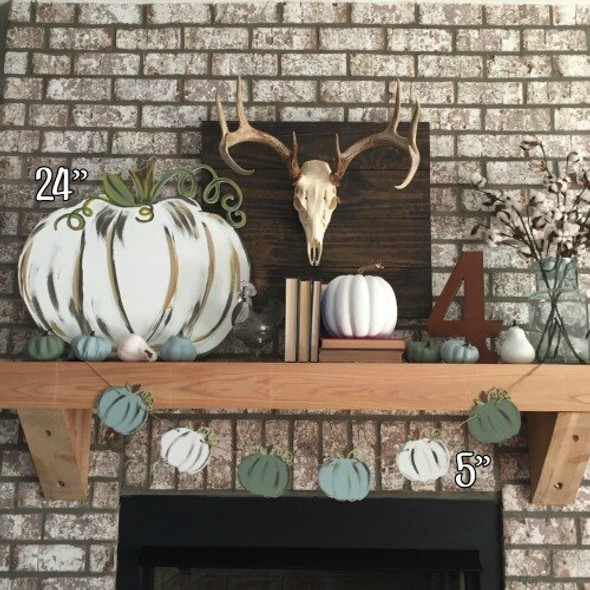 Pumpkin with vine Unfinished Cutout Paintable Wood wall decor