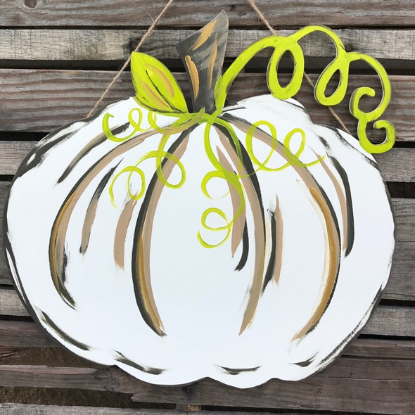 Pumpkin with vine Unfinished Cutout, Wooden Shape, Paintable Wood