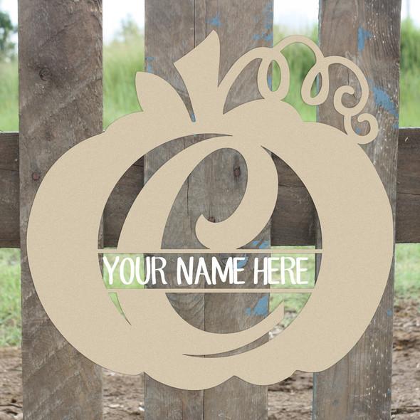 Pumpkin Frame Family Script Name, Unfinished Framed Monogram