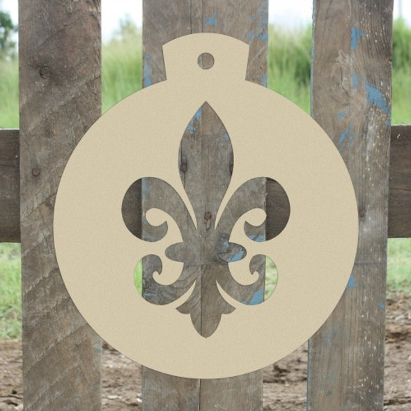 Christmas Ornament Fancy Fleur de Lis Unfinished Cutout, Wood Shape