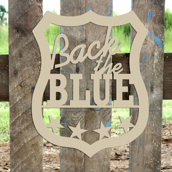 Police Back The Blue Sign Wall Art Wooden DIY Craft MDF