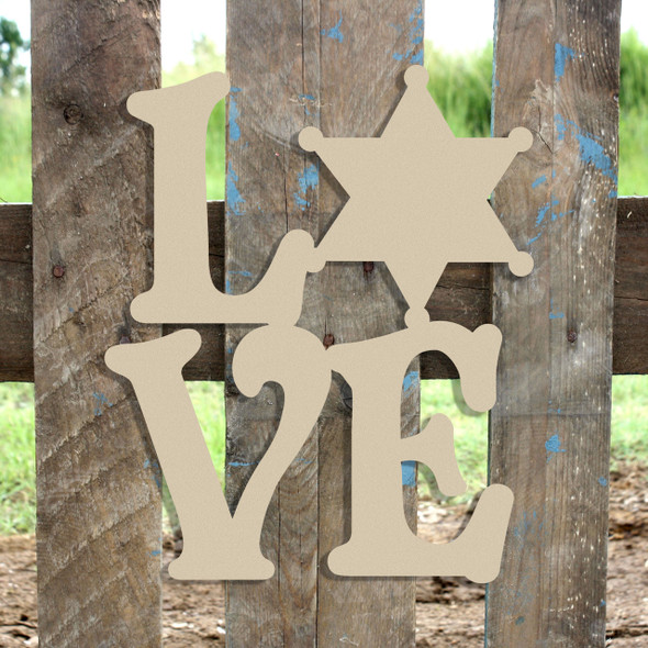 Love Sherriff Star Badge Sign Wall Art Wooden DIY Craft MDF