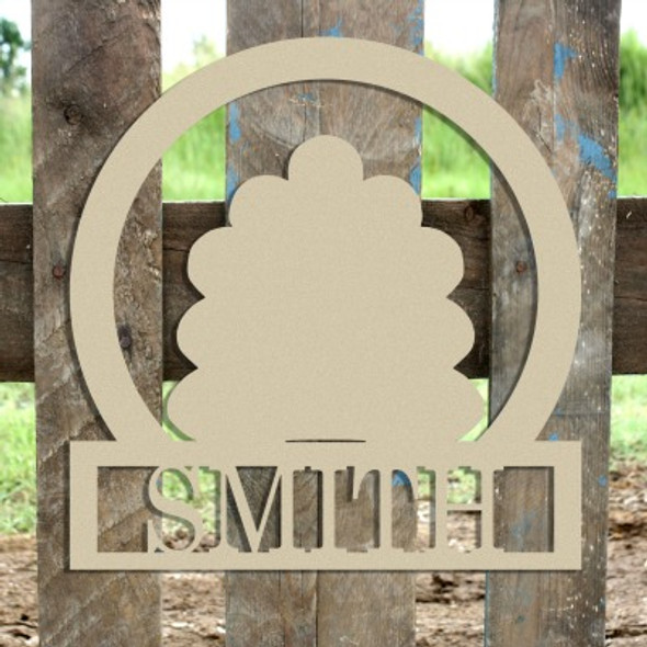 Turkey Frame Family Welcome Sign, Unfinished Framed Monogram