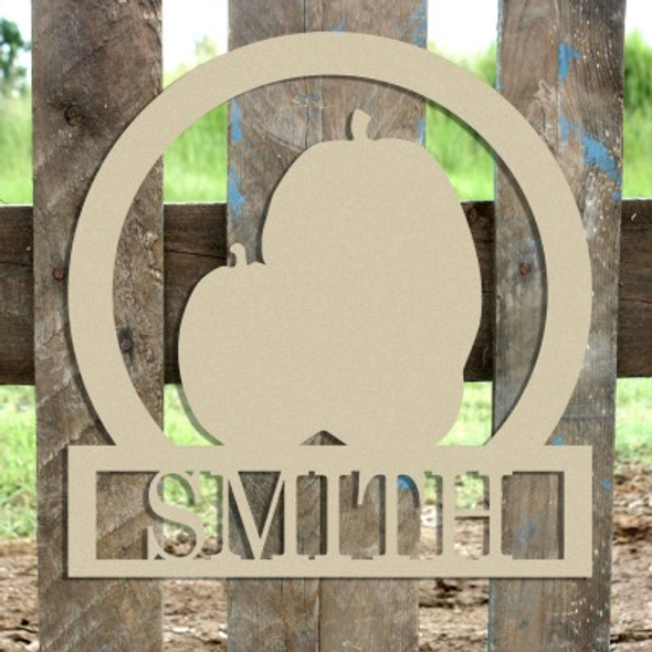 Three Pumpkins Frame Family Welcome Sign, Unfinished Framed Monogram