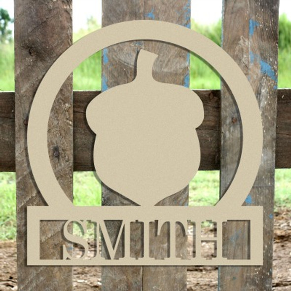 Acorn Frame Family Welcome Sign, Unfinished Framed Monogram