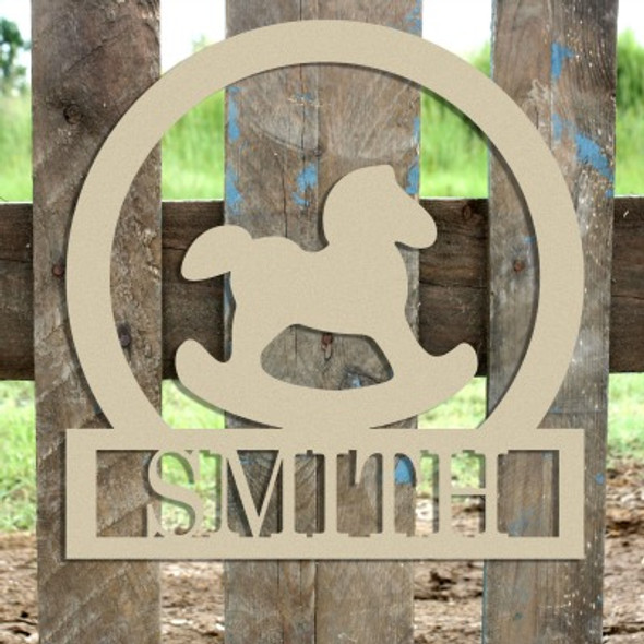 Rocking Horse Frame Family Welcome Sign, Unfinished Framed Monogram