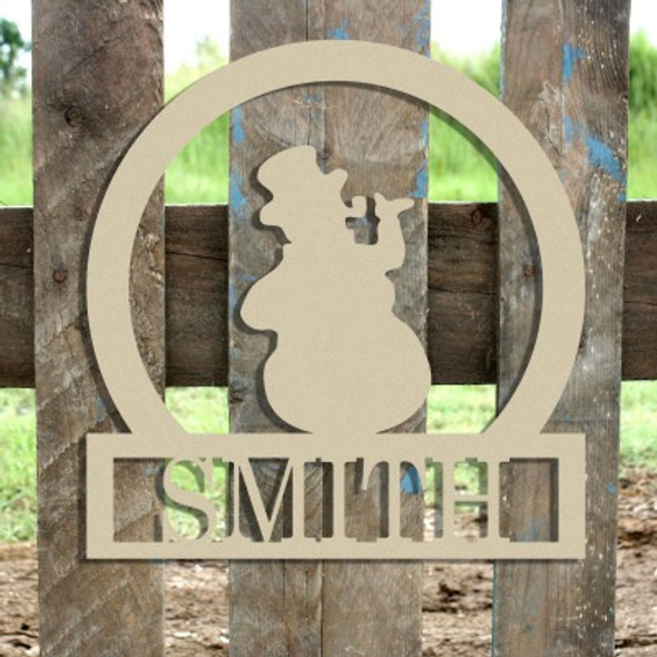 Snowman Frame Family Welcome Sign, Unfinished Framed Monogram