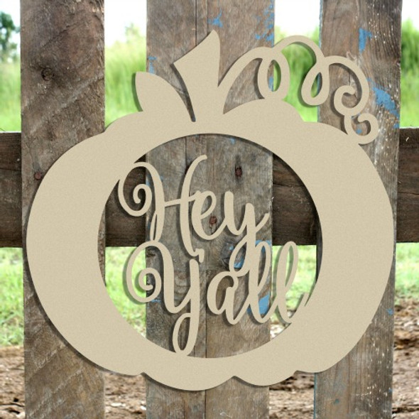 Hey Y'all Framed Pumpkin Wooden (MDF) Cutout - Unfinished  DIY Craft
