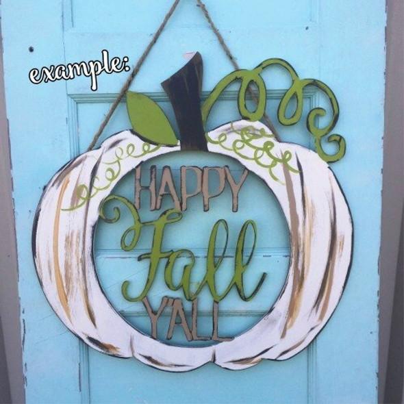 Happy Fall Y'all Pumpkin Wooden (MDF) Cutout