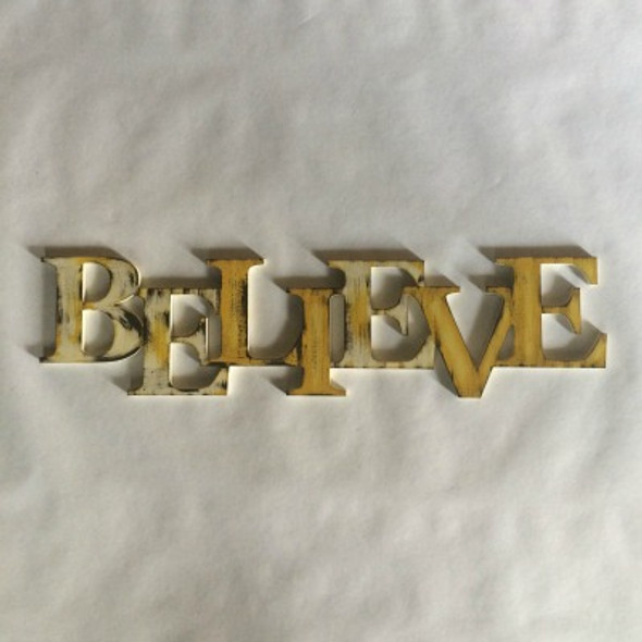 Unfinished Wooden Connected Block Word, Believe, Alphabet Paintable