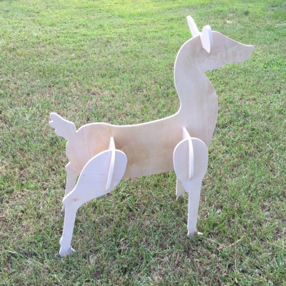 Reindeer Yard Art (Standing Doe) 1/2'' White Pine Christmas Decor