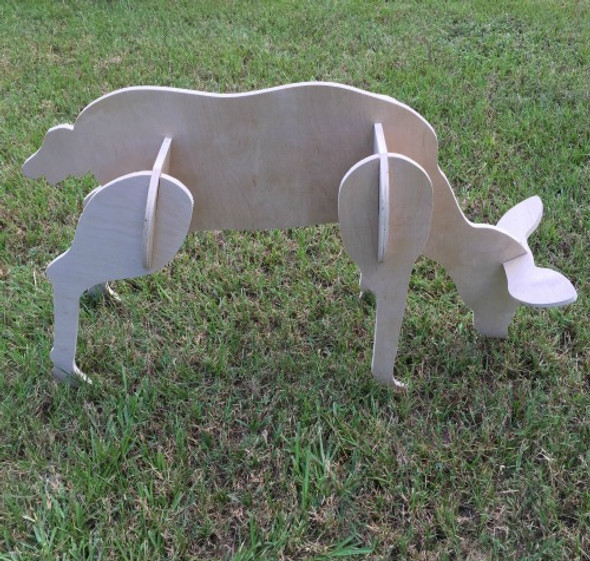 Reindeer Yard Art (Feeding Doe) 1/2'' White Pine Christmas Decor