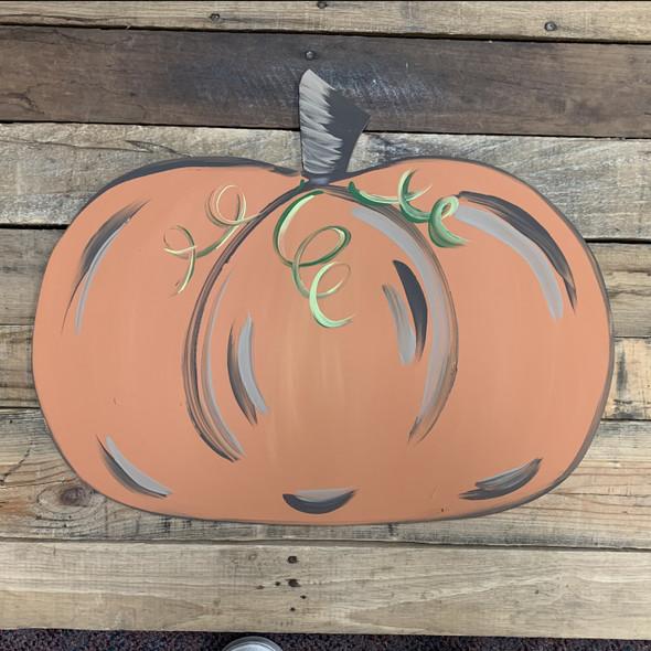 Wide Pumpkin Cutout, Wooden Shape,  DIY Craft, Thanksgiving Cutout