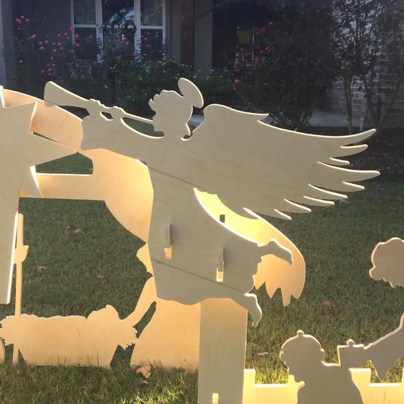 Nativity Set (Whole Set)  Yard Art 1/2'' White Pine Christmas Decor