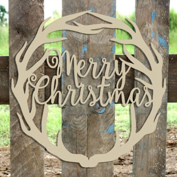 Merry Christmas Antler Wreath Wooden (MDF) Cutout - Unfinished  DIY